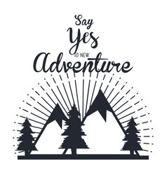 Vintage adventure label design outdoor activity vector