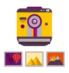 vintage snapshot camera and photos vector image