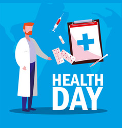 World health day card with doctor man and icons vector