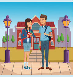 young students outside of high school vector image