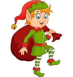 Cartoon cute elf with sack vector image