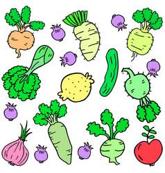 doodle fresh vegetable set art vector image