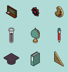 education flat outline isometric set vector image vector image