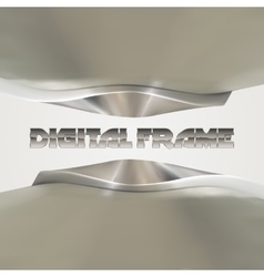 Shiny metallic frame with abstract curves vector image