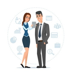 Woman and man with tablets Business cartoon vector image