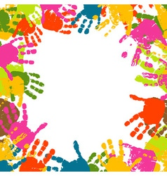 abstract background prints of hands of the child vector image vector image