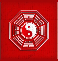 Chinese Bagua symbol on red vector image