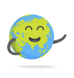 cute cartoon earth character world map globe with vector image