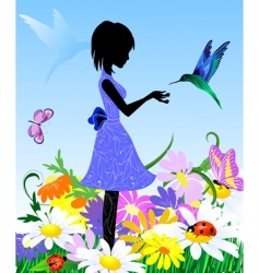 girl on lawn vector image vector image