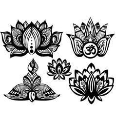 set of ornamental lotus vector image vector image