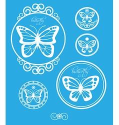 Set of vintage butterfly labels emblems and design vector image