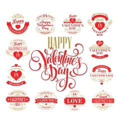 Valentine day Set of typography elements with vector image vector image