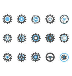 blue gear and cog icons set vector image vector image