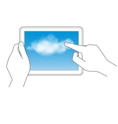 Cloud computing and touch pad concept vector image vector image