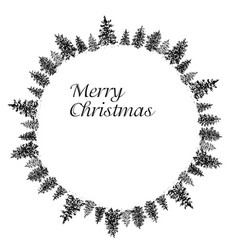 ink fir forest circular frame vector image vector image