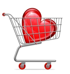 Love Heart in Shopping Cart vector image