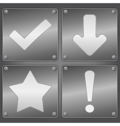 metal plates with icons vector image