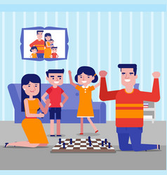 young caucasian white family playing chess at home vector image