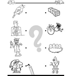 match objects educational coloring book vector image