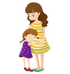 A daughter hugging her mother vector