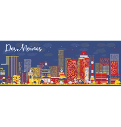 Abstract Des Moines Skyline vector image