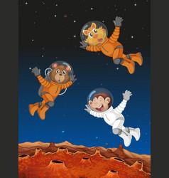 Animals acting as astronauts vector