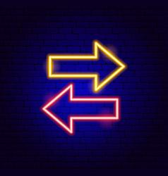 Back forward arrow neon sign vector