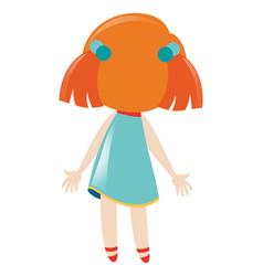 Back of little girl dresses in blue vector