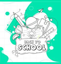 Back to school in outline format vector
