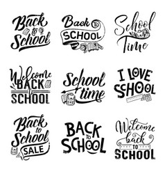 Back to school lettering with student supples vector