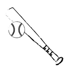 baseball bat ball sport image sketch vector image