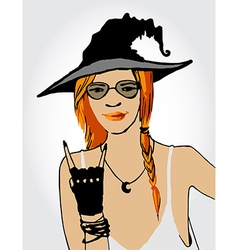Beautiful ginger witch vector image