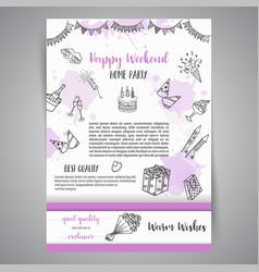 Birthday party doodle posters template vector