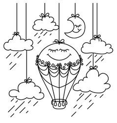 black and white hand drawn image aerostat vector image