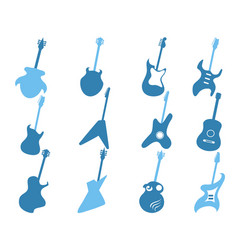 Blue guitar icons set vector