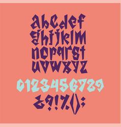 Bold geometric playful font vector