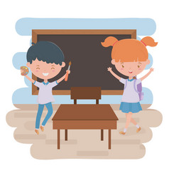 Boy girl kid and blackboard school design vector