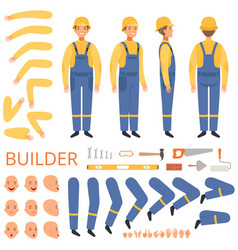 Builder character animation body parts head arms vector