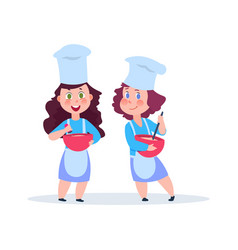 cartoon chefs adorable female characters vector image