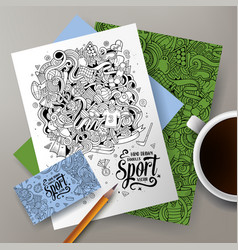 Cartoon doodles sport corporate identity set vector