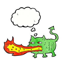 Cartoon fire breathing imp with thought bubble vector