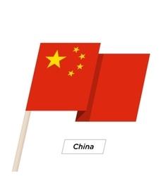 China Ribbon Waving Flag Isolated on White vector