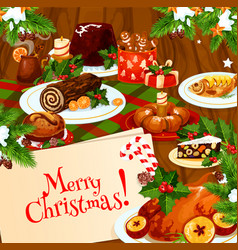 Christmas banner of festive dinner on wooden table vector
