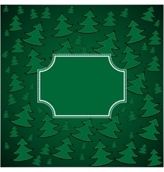 Christmas firs background and square frame vector image