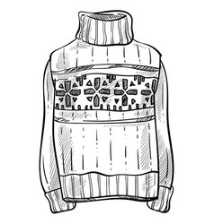 Christmas sweater knitwear isolated sketch vector
