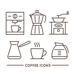 Coffee shop linear icons set vector