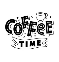 coffee time lettering logo badge isolated vector image