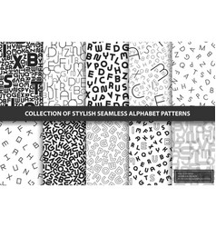 collection seamless alphabet patterns vector image
