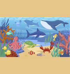 colorful cartoon sea animals underwater panorama vector image