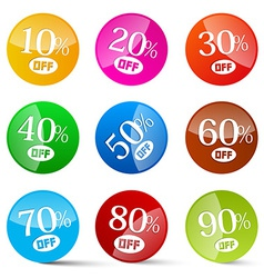 Colorful Discount Circles Set Labels Isolated on vector image